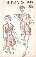 40's Bra Top, Jacket and Shortie Pajamas Pattern Bust 34