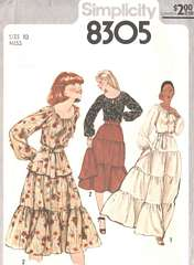 70's Pullover Peasant Blouse and Skirt Pattern Bust 32.5