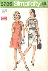 70's Side Button Front Yoke Dress Pattern Bust 34