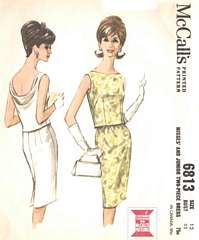 60's Mad Men Era Cowl-Back Top and Skirt Pattern Bust 32