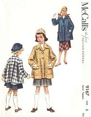 1950's Girls' Topper Coat Pattern Size 6