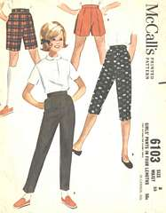 1960's Vintage Pants in Four Lengths Pattern Girls' Size 8