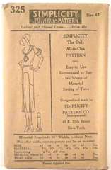 1920's Vintage Deco Dress Simplicity Pattern 325 Bust 42