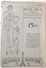 1930's Frock and Jacket Ensemble Advance Pattern 1170