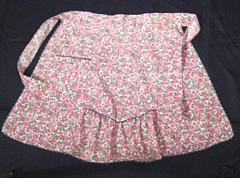 Azalea Pink and Green Floral Print Vintage Apron