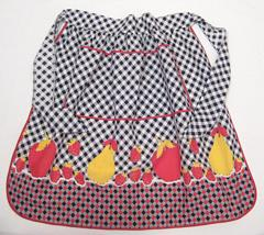 Black and White Check Fruit Border Print Vintage Apron