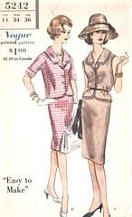 60's Vtg Vogue 5242 Jacket-Blouse, Straight Skirt Pattern B 36