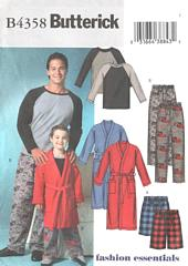 Boys' Robe and Pajamas Pattern Sizes XS and S