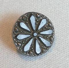 Victorian Two Tone Silver Lustred Black Glass Button Daisy