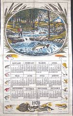 1970 Vintage Calendar Towel Fly Fishing by Warren Boucher