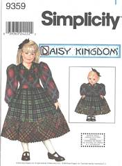 Simplicity 9359 Daisy Kingdom Girls and Doll Dress Pattern 7-14
