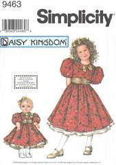 Simplicity 9463 Daisy Kingdom Girls and Doll Dress Pattern 7-14