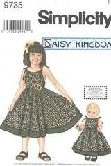 Simplicity 9735 Girls and Doll Dress Pattern 7-14
