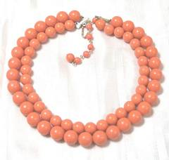 Vintage Plastic Coral Bead Two Strand Necklace