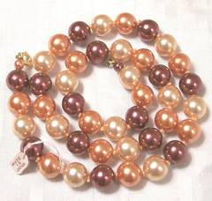 Vintage New Old Stock Glass Bead Necklace Plum and Peach