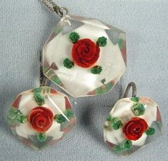 Red Rose in Lucite Pendant and Screw Back Earrings Set