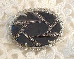 Vintage Carved Black Glass and Marcasite Brooch