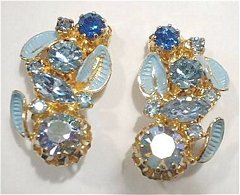 Vintage Blue Medley Rhinestone Earrings