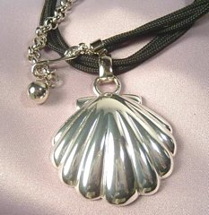 Napier Silver Tone Shell Pendant Necklace
