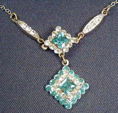 Vintage Rhinestone Dangle Pendant Necklace in White and Aqua