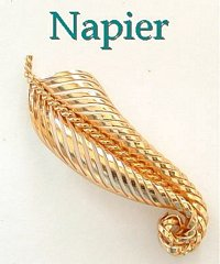Napier Abstract Openwork Leaf Brooch