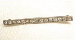 Pierced Back C Clasp Bar Pin with Glass Stones