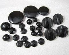 Group of Assorted Vintage Black Glass Buttons