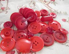 Assortment of Vivid Red Vintage Plastic Buttons