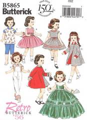 "Butterick 5865 Retro '56 Doll Clothes Pattern for 18"" Dolls"