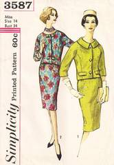 1960's Mad Men Era Simplicity 3587 Suit-Dress Pattern Bust 34