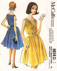 McCall's 6614 Smocked Yoke Dress 60's Pattern Bust 36