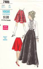 1960's Vogue 7405 Evening and Street Length Skirt Pattern W25.5