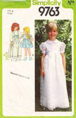 Vintage Simplicity 9763 Girls Long or Short Fancy Dress Pattern
