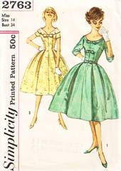 1950's Divine Full Skirted Dress Pattern Simplicity 2763 Bust 34