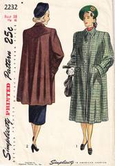 Late 1940's Simplicity 2232 Flared Yoked Coat Pattern Bust 38