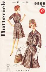Early 60's Inverted Pleat Dress and Jacket Pattern Bust 40