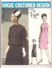 Pucci Vogue 1418 Couturier Dress and Jacket Pattern Bust 32
