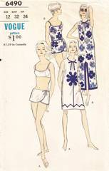 Vintage 1960's Vogue 6490 Sarong Swimsuit and Coverup Pattern