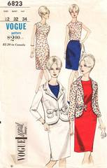 1960's Vogue Hip Length Jacket, Skirt, Dress, Blouse Pattern