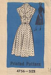 1950's Anne Adams 4756 Shaped Bodice Dress Pattern Bust 42