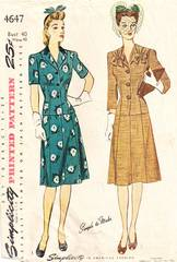 1940's WWII Era Simplicity 4647 Fittted Two Piece Dress Pattern
