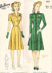 1940's DuBarry 5217 Snap Front Dress Pattern Bust 36