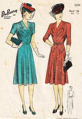 1940's DuBarry 5199 Diagonal Tucks Dress Pattern Bust 38