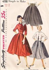 1950's Simplicity 4198 Full Skirt and Tab Jacket Pattern Bust 30