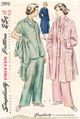 1940's Simplicity 2999 Misses Pajamas and Coat Pattern Bust 32