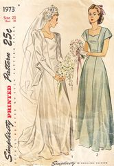 1940's Simplicity 1973 Princess Wedding Gown with Train Pattern