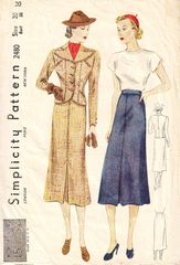 1930's Simplicity 2480 Revers Jacket, Front Pleat Skirt Pattern