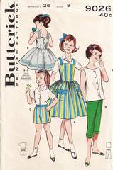 1950's Butterick 9026 Girls Sportswear Wardrobe Pattern Size 8