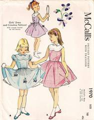 1950's Vtg McCall's 1970 Dress and Petticoat Pattern Girl 10