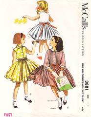 50's Vintage McCall's 3881 Girls Full Skirt Dress Pattern Sz 10